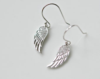 Angel wing earrings - sterling silver and cubic zirconia - guardian protection strength beauty symbolic - simple everyday jewelry - Kate