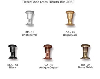 TierraCast 4mm Compression Rivets  - 10 Pack - great for leather, jewelry or craft projects requiring small rivets - choose from 5 finishes