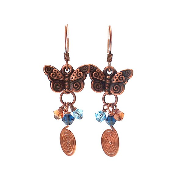 Butterfly Earrings - 45mm length - mythical copper butterflies with fabulous spiral tails - nature insect woodland handmade gift for her