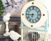 Cottage Style Bird Cage Clock with Bird Finial and Nest Aqua Blue and Creamy White Farmhouse Home Decor
