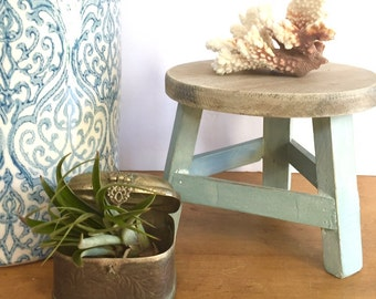 Beach House Decorative Stool Riser Soft Ocean Blue with Weathred Wood Accent Rustic Style Home Decor