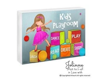 Kids Playroom Door Sign Personalized Door Decor Kids Bedroom Sign Nursery Decor Laugh Love Dance Play Kids Playroom Sign Kindergarten sign