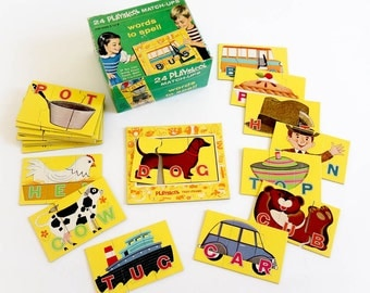 Vintage 1960s Puzzle Learning Toy / Playskool Words To Spell Match-Ups 1964 Complete