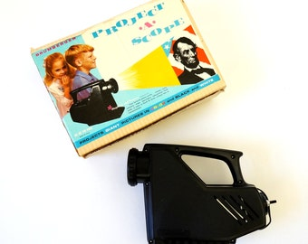 Vintage 1960s Childs Projector / 60s Brumberger Project-A-Scope in Box / Magnifies and Projects Prints, Stamps, Coins, Maps and More