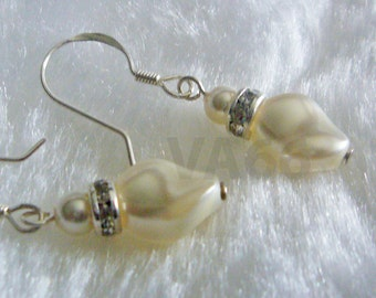 White Bridal Pearl Earrings 925 Sterling Silver Swarovski Pearls Rhinestone Rondelles Swarovski Twist Pearl Bride, Bridesmaids Mother Gift