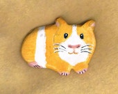 Guinea Pig Brooch, Cavy Pin, One of a kind , OOAK  Gift for Guinea Pig Lover