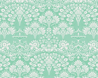 Season of Love Fabric Wild Flowers Mint Green and White Scroll Paisley Damask