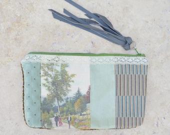 Handmade Bag . Purse . Clutch . Leather Tassel . Old Postcard . Photo