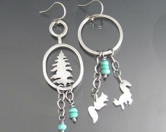 squirrel and conifer tree sterling silver turquoise earrings - squirrel earrings - woodland jewelry - squirrel jewelry - forest - animal