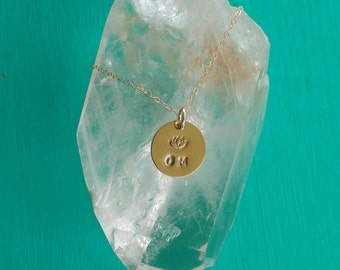 PURE LOVE Om Yoga Jewelry with Lotus, OM Necklace in Yellow Gold-Filled, Lotus Flower Necklace, Yoga Jewelry (#045)