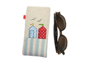 Beach Huts Glasses Case, Mothers Day Gift, Sunglasses Case, Spectacles Case, Mom from Daughter, Gift for Women