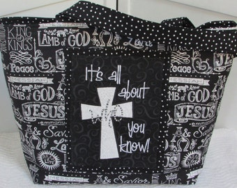 Black and White Chalkboard Scripture Large tote bag , Inspirational Words Bible Bag , Faith Tote , Church Purse Ready To Ship