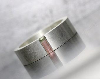 Wide Silver Ring Tiny Raw Bi-Color Tourmaline Wedding Band Solid Minimalistic Subtle Pastel Pink Green Rough Gemstone Rod - Watermelon Inlay