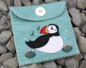 Felt coin purse, Puffin purse,handmade felt purse,Puffin gift bag,felt wallet,small purse, Duckegg blue felt bird purse,Puffin gift, CIJ