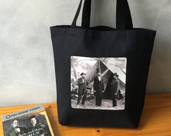 "Abraham Lincoln Tote Bag - Vintage Photograph - Black Canvas Bag - Essentials Tote - 1862 After Antietam - More info in ""Item Details"""