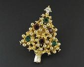 Avon Christmas Tree Pin, Christmas Tree Brooch, Christmas Jewelry, Rhinestone Christmas Brooch, Rhinestone Brooch, Christmas Tree Tac Pin