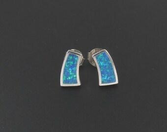 Sterling Silver Faux Opal Earrings, Sterling Silver Earrings, Small Earrings, Blue Earrings, Silver Earrings