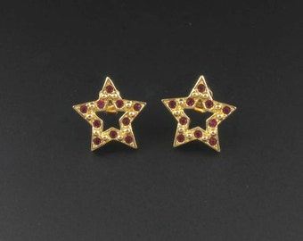 Red Rhinestone Earrings, Avon Sparkling Star Earrings, Avon Earrings, Red Earrings, Fourth of July Earrings, Star Earrings, Gold Earrings