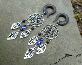 Blue Silver Boho Dream Catchers Gauged Earring Plugs with Vintage Blue Millefiori Glass