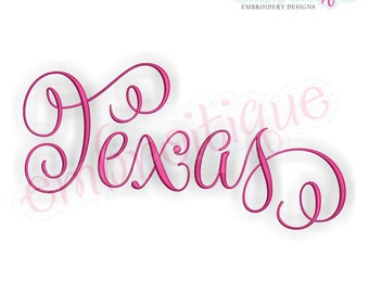 Texas Calligraphy Fancy Script 3  - Instant Download Machine embroidery design