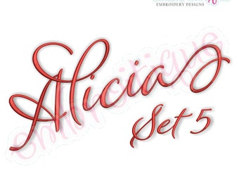 Alicia Calligraphy Monogram Set 5 - Embroitique Exclusive - Interchangeable Machine Embroidery Font - Instant download Alphabet