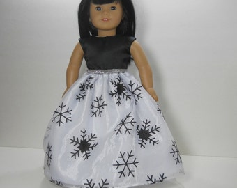 18 inch doll clothes made to fit dolls such as American Girl, Black Party Fancy Gown Snowflake Dress, 10-1415