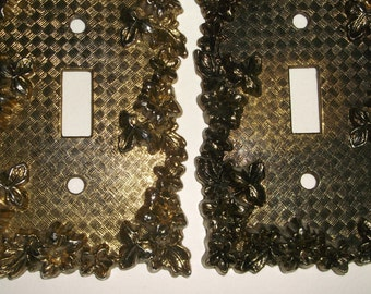 Vintage 1967 American Tack & Hdwe Co. Metal Flower Switchplates • lot of 2 count