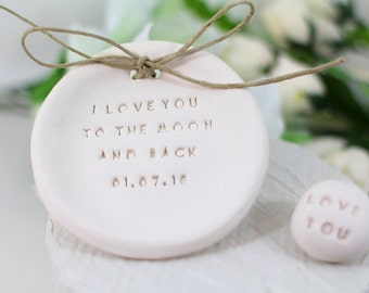 I love you to the moon and back Wedding ring dish Ring bearer pillow alternative Ring bearer Wedding Ring pillow
