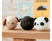 Easy Animal Felt Kit - Japanese Needle Acrylic Fiber Felt  DIY Kit - Maco Maako, Hamanaka Aclaine Kit, Cute Dog, Cat, Panda Bear Doll, F147