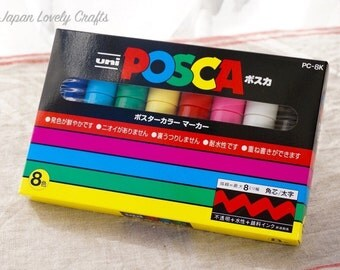 Uni Posca Japanese  Drawing Pens, Bold Chisel Tip Marker 8 colors Set, PC-8K 8C, Art Supplies, Pop, Poster, Made in Japan