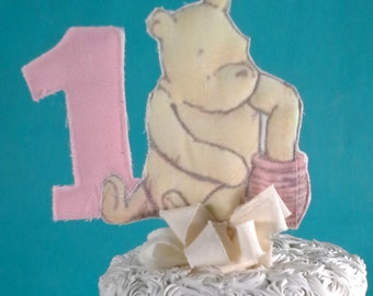 Classic Pooh bear cake topper, fabric Winnie the Pooh first birthday cake, party decoration I297