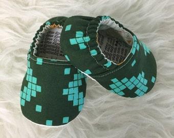 9-12 months Hunter Green & Aqua Geometric Baby Bootie - Elastic Back - Ready to Ship