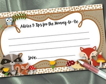 10 Mommy To Be Advice Cards, Baby  Woodland Forest Animals, Baby Shower, Fox, Raccoon, Squirrel, Owl, Hedgehog, Polka Dots