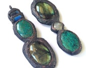 RESERVED- Turquoise, Labradorite, Rainbow Moonstone Mismatched Bohemian Statement Earrings