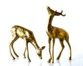 Vintage Brass Deer Figurines Hollywood Regency Home Decor Set of Two