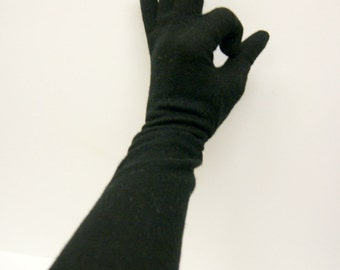 Vintage Black Felted wool Elbow Length Gloves 6.5