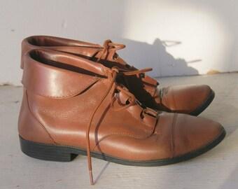 Vintage Cognac Brown Fold Over Ankle Boots 6 1/2