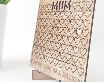 Personalised Birthday card - made from birch wood - MUM You're one in a billion with little hearts