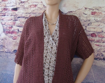Crochet Cardigan, Cardigan, Cardigans, Brown Cardigan, Summer Cardigan, Kimono Cardigan, Gift for Her, Cotton/Hemp, Available in S/M