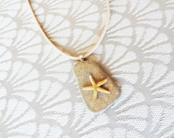 Starfish on a bit of Stone Pendant Necklace by Beach Candies