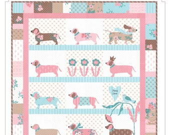 Doxie Dog Dachshund Applique Bunny Hill Wall Quilt Pattern
