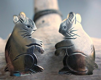 Sterling Rabbit Sweater Clips