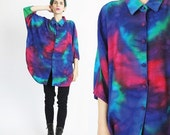 FLASH SALE 1980s Tie Dye Blouse Rainbow Multi Color Slouchy Shirt Batwing Sleeve Shirt Button Up Oversize Womens Collared Blouse Short Sleev