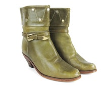 1980s Cuffed Ankle Boots Buckle Strap Boots Olive Green Leather Gold Studded Boots Western Ankle Booties Stacked Wood Heel Slouchy Size 7.5