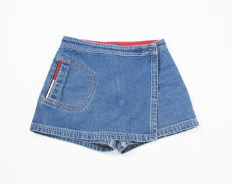 TOMMY HILFIGER Skort 90s Denim Skort Vintage High Waist Jean Shorts Denim Mini Skirt Wrap Front Sporty Embroidered Denim Shorts (S)