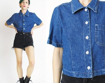 Vintage 90s Cropped Denim Shirt Denim Crop Top Womens Denim Blouse Basic Short Sleeve Button Down Shirt Jean Collared Normcore Cotton (M)