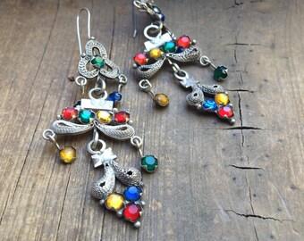 Vintage Earrings Silver Filigree Spanish Colonial Chandelier Earrings