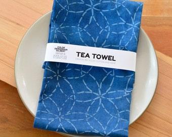Organic Cotton/Hemp Mitsuba Sashiko Pattern Tea Towel in Indigo