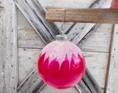 Jumbo Vintage Shiny Brite Christmas Ornament Red White Flocking Large Ball