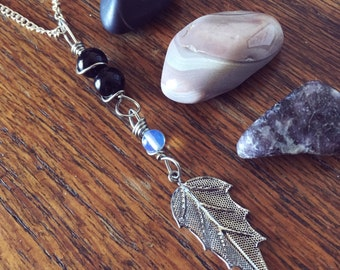 SALE! Wire Wrapped Leaf and Gemstones Pendant Necklace